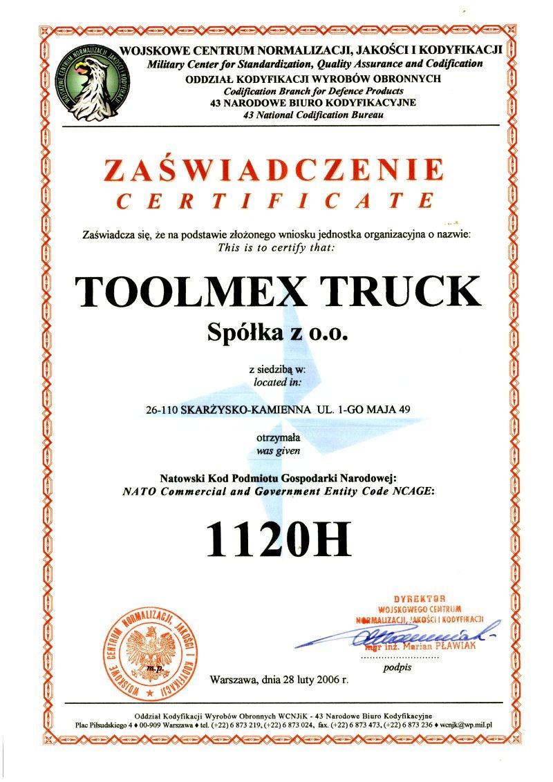 Zaświadczenie dla Toolmex Truck w sprawie UDT dla wojsk NATO